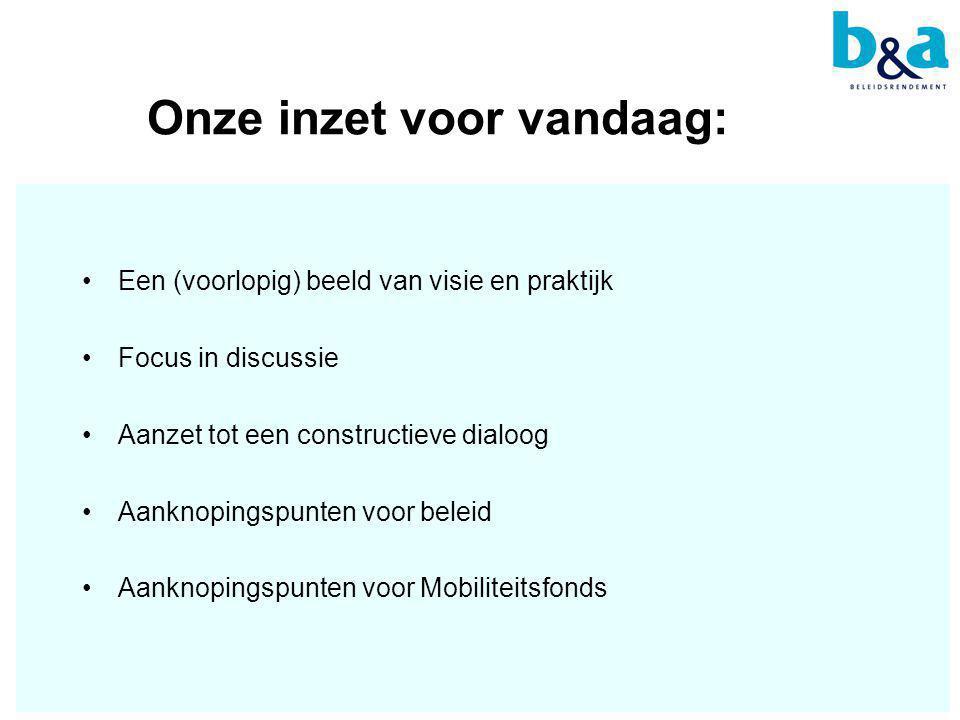 Onze inzet voor vandaag: •Een (voorlopig) beeld van visie en praktijk •Focus in discussie •Aanzet tot een constructieve dialoog •Aanknopingspunten voor beleid •Aanknopingspunten voor Mobiliteitsfonds