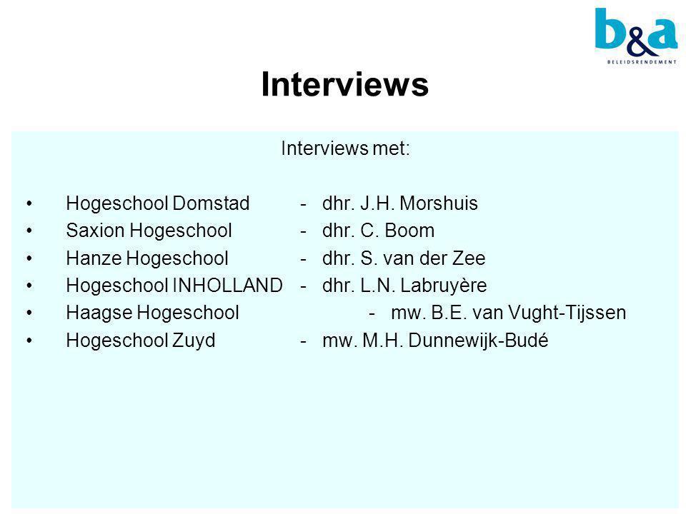 Interviews Interviews met: •Hogeschool Domstad - dhr.