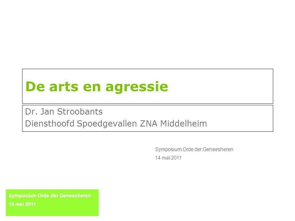 De arts en agressie Dr. Jan Stroobants Diensthoofd Spoedgevallen ZNA Middelheim Symposium Orde der Geneesheren 14 mei 2011 Symposium Orde der Geneeshe