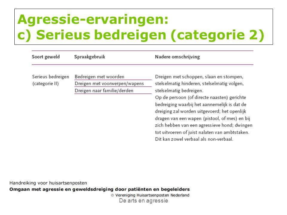 De arts en agressie Agressie-ervaringen: c) Serieus bedreigen (categorie 2)