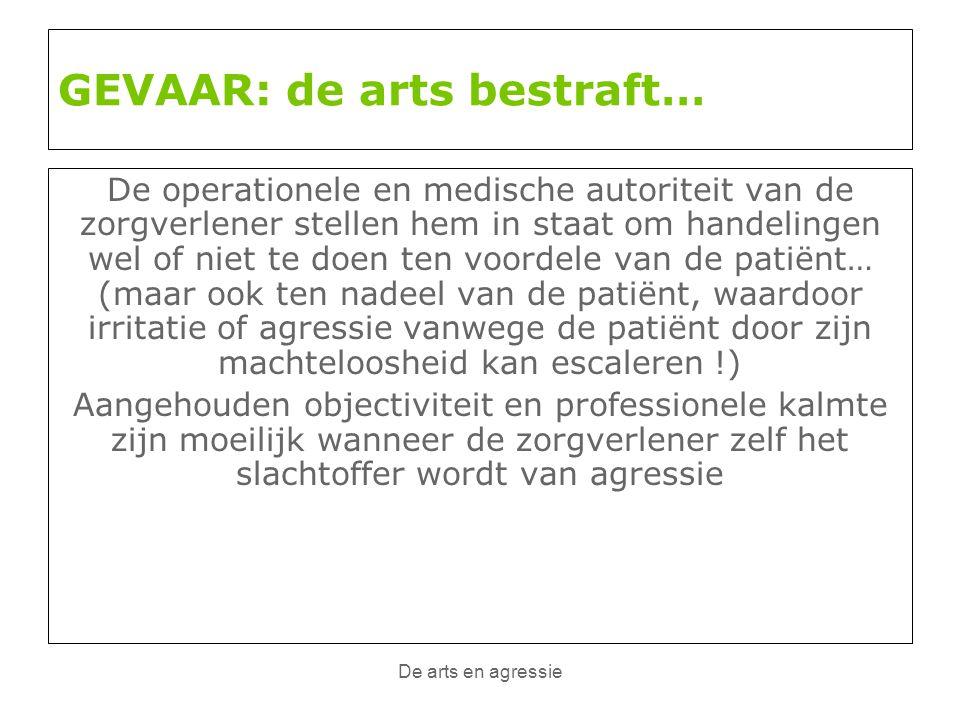 De arts en agressie GEVAAR: de arts bestraft… De operationele en medische autoriteit van de zorgverlener stellen hem in staat om handelingen wel of ni