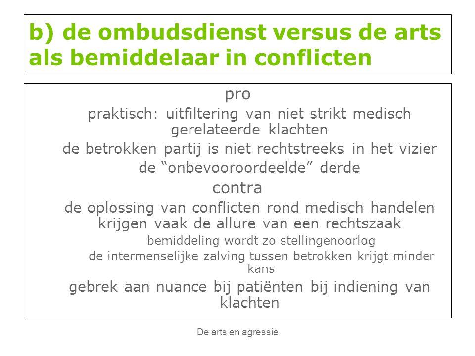 De arts en agressie b) de ombudsdienst versus de arts als bemiddelaar in conflicten pro praktisch: uitfiltering van niet strikt medisch gerelateerde k