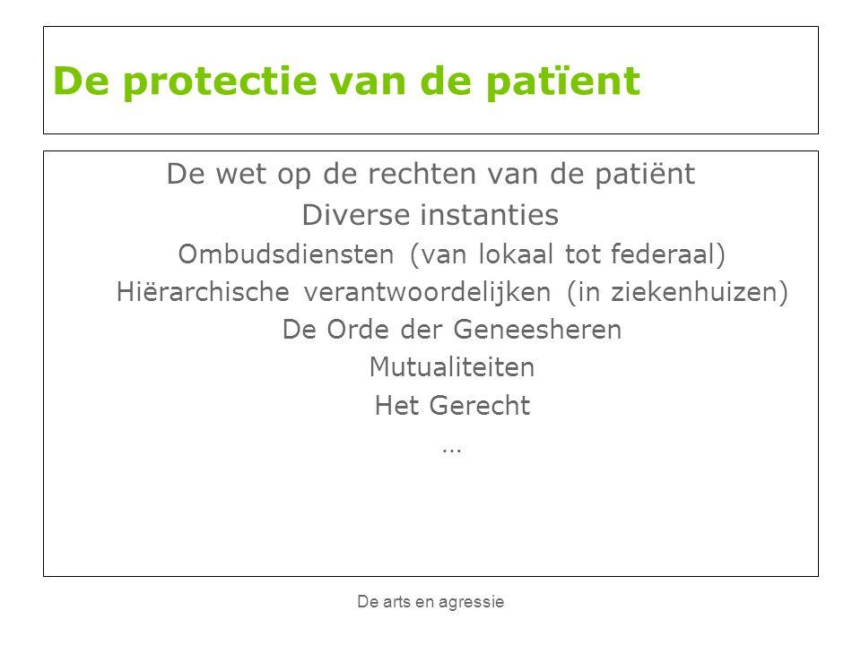De arts en agressie De protectie van de patïent De wet op de rechten van de patiënt Diverse instanties Ombudsdiensten (van lokaal tot federaal) Hiërar