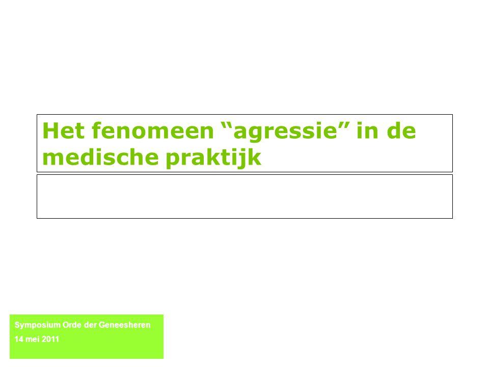 Het fenomeen agressie in de medische praktijk Symposium Orde der Geneesheren 14 mei 2011
