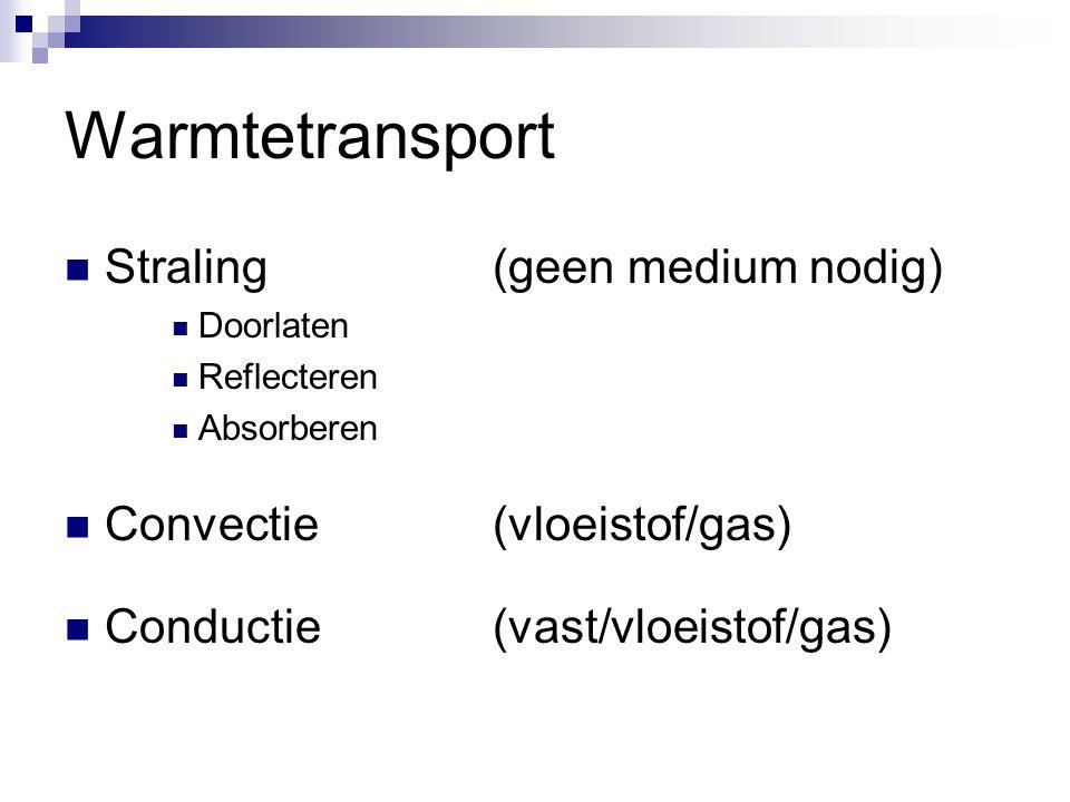 Warmtetransport  Straling(geen medium nodig)  Doorlaten  Reflecteren  Absorberen  Convectie(vloeistof/gas)  Conductie(vast/vloeistof/gas)