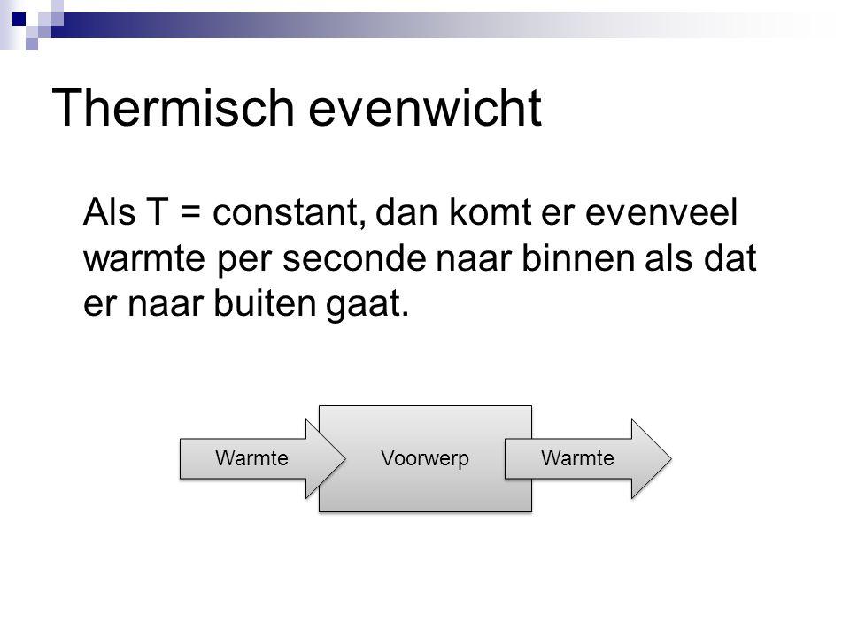 Thermisch evenwicht Als T = constant, dan komt er evenveel warmte per seconde naar binnen als dat er naar buiten gaat. Voorwerp Warmte