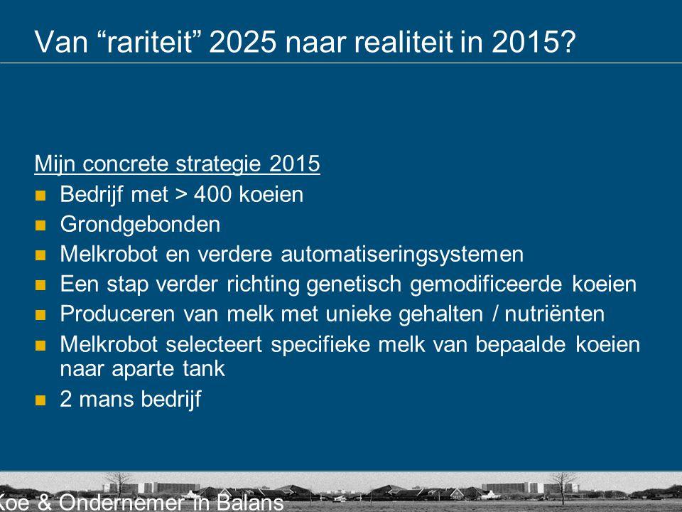 """Koe & Ondernemer in Balans Van """"rariteit"""" 2025 naar realiteit in 2015? Mijn concrete strategie 2015  Bedrijf met > 400 koeien  Grondgebonden  Melkr"""