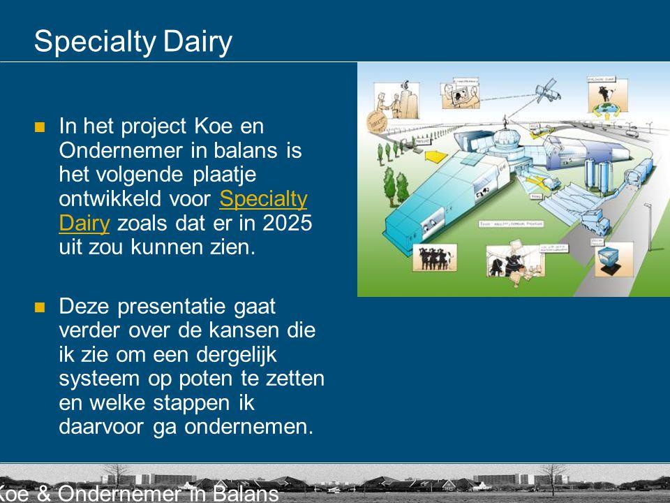 Koe & Ondernemer in Balans Specialty Dairy  In het project Koe en Ondernemer in balans is het volgende plaatje ontwikkeld voor Specialty Dairy zoals