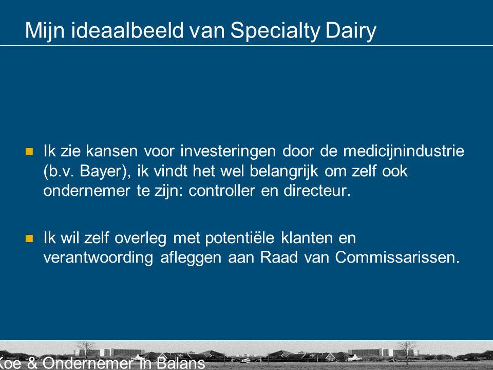 Koe & Ondernemer in Balans Mijn ideaalbeeld van Specialty Dairy  Ik zie kansen voor investeringen door de medicijnindustrie (b.v. Bayer), ik vindt he