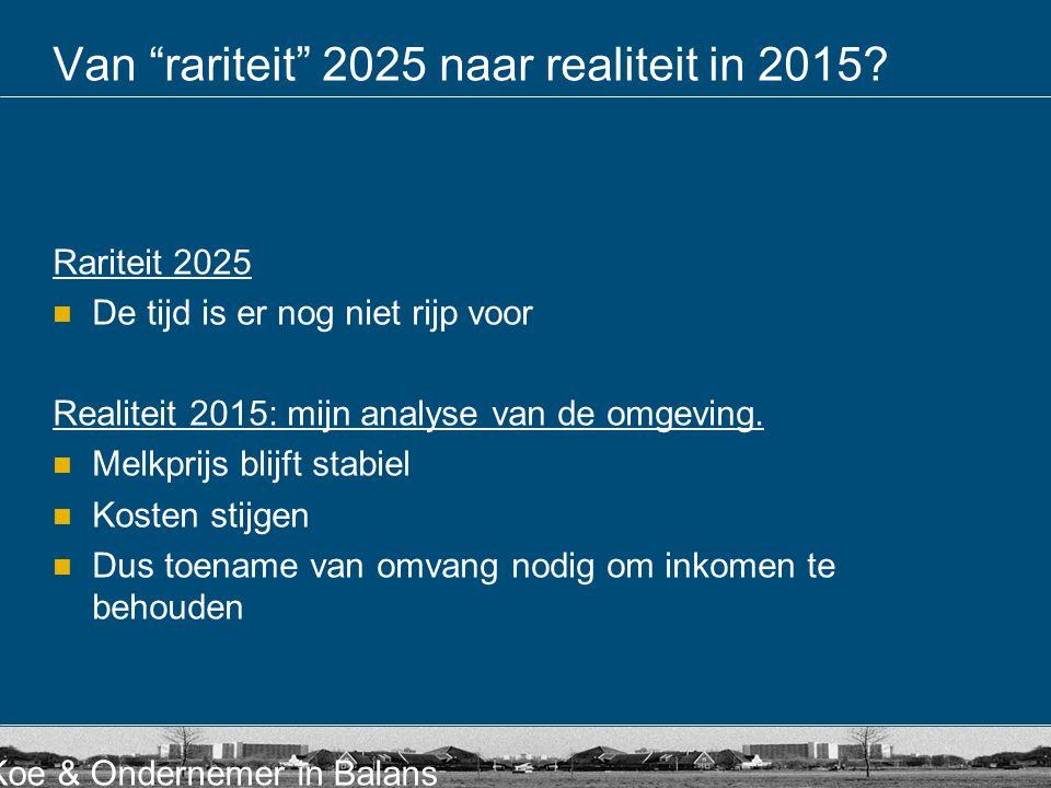 """Koe & Ondernemer in Balans Van """"rariteit"""" 2025 naar realiteit in 2015? Rariteit 2025  De tijd is er nog niet rijp voor Realiteit 2015: mijn analyse v"""