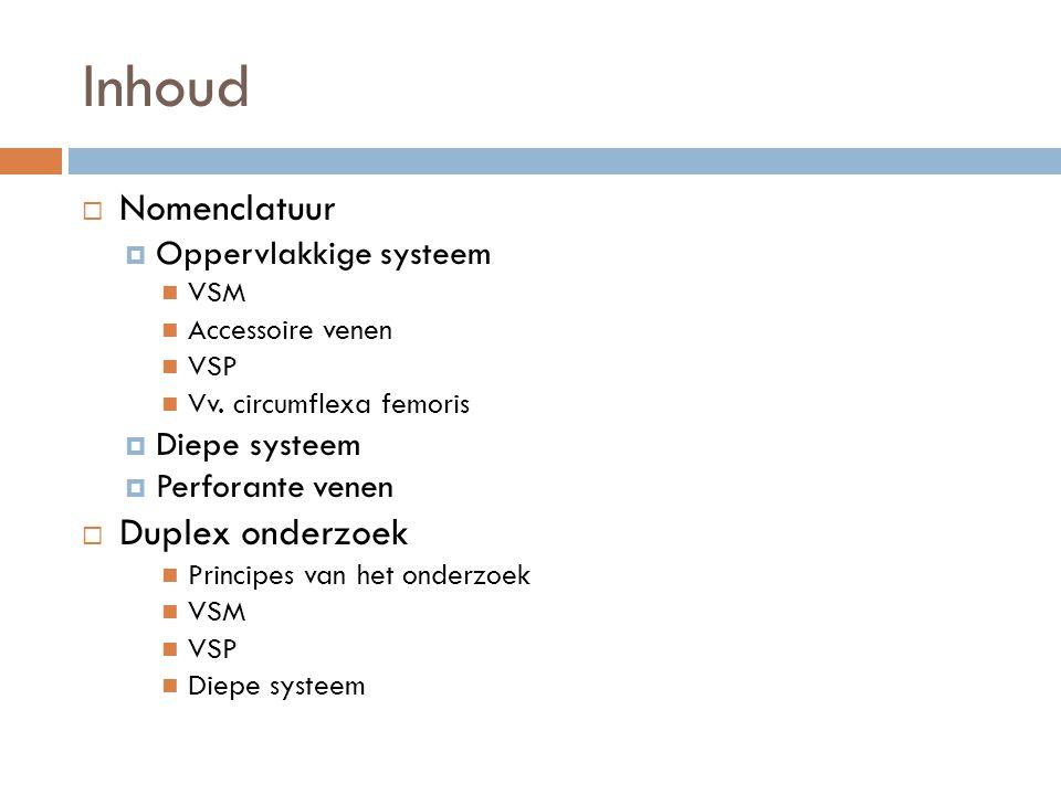 Inhoud  Nomenclatuur  Oppervlakkige systeem  VSM  Accessoire venen  VSP  Vv. circumflexa femoris  Diepe systeem  Perforante venen  Duplex ond