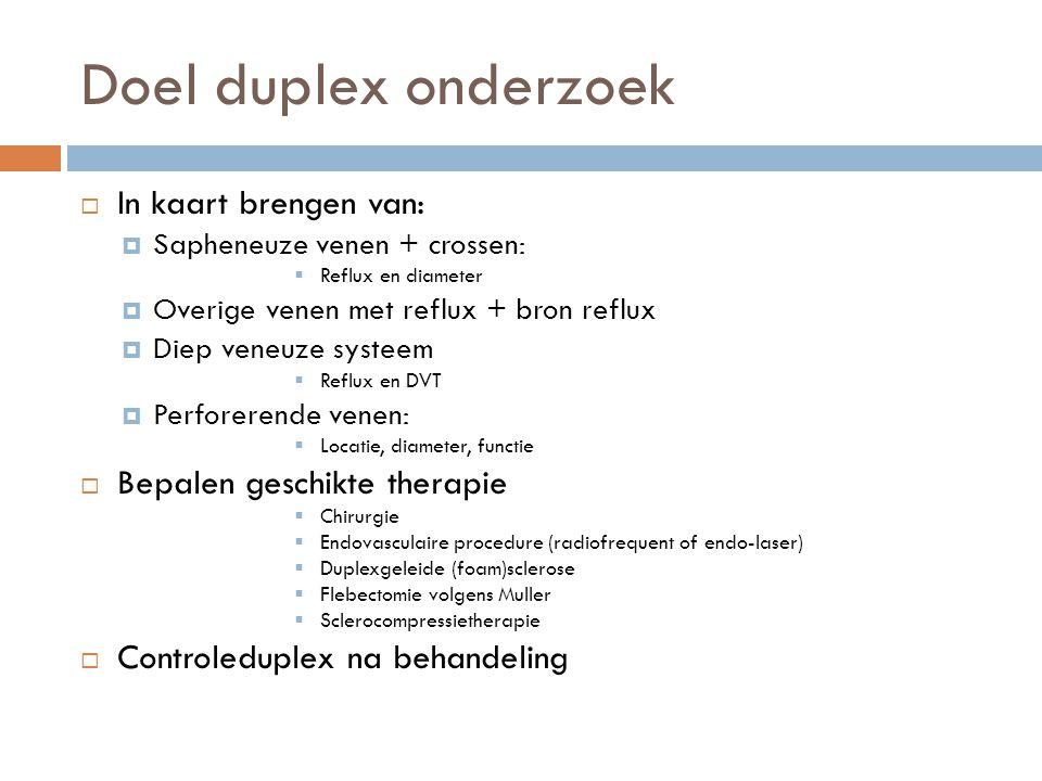 Doel duplex onderzoek  In kaart brengen van:  Sapheneuze venen + crossen:  Reflux en diameter  Overige venen met reflux + bron reflux  Diep veneu