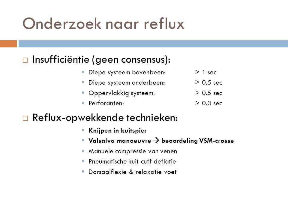 Onderzoek naar reflux  Insufficiëntie (geen consensus):  Diepe systeem bovenbeen: > 1 sec  Diepe systeem onderbeen: > 0.5 sec  Oppervlakkig systee