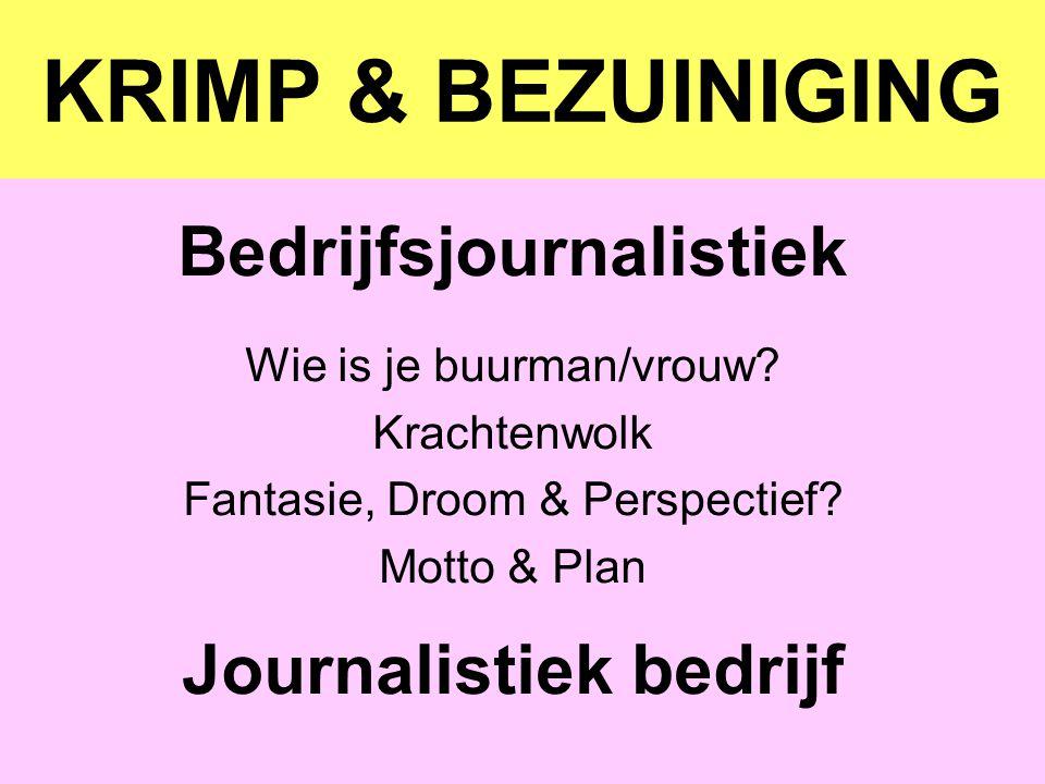 KRIMP & BEZUINIGING Bedrijfsjournalistiek Wie is je buurman/vrouw? Krachtenwolk Fantasie, Droom & Perspectief? Motto & Plan Journalistiek bedrijf