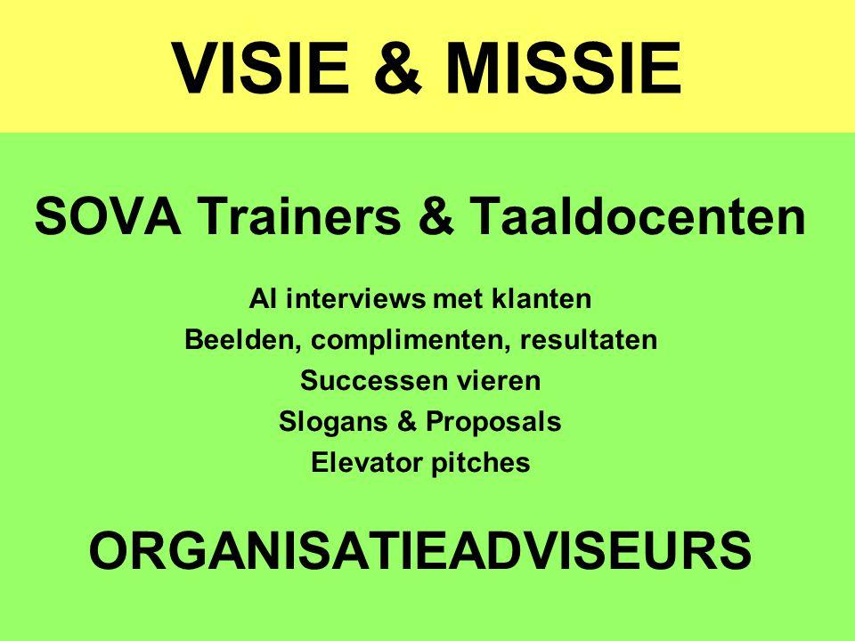 VISIE & MISSIE SOVA Trainers & Taaldocenten AI interviews met klanten Beelden, complimenten, resultaten Successen vieren Slogans & Proposals Elevator
