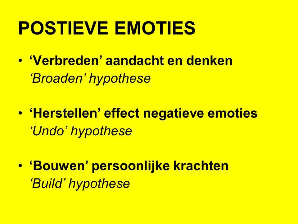 POSTIEVE EMOTIES •'Verbreden' aandacht en denken 'Broaden' hypothese •'Herstellen' effect negatieve emoties 'Undo' hypothese •'Bouwen' persoonlijke kr