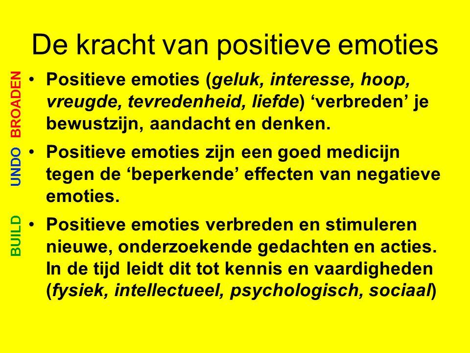 De kracht van positieve emoties •Positieve emoties (geluk, interesse, hoop, vreugde, tevredenheid, liefde) 'verbreden' je bewustzijn, aandacht en denk