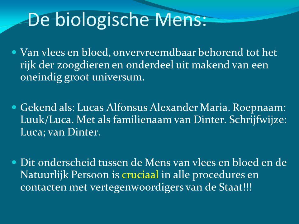 De biologische Mens:  Van vlees en bloed, onvervreemdbaar behorend tot het rijk der zoogdieren en onderdeel uit makend van een oneindig groot univers