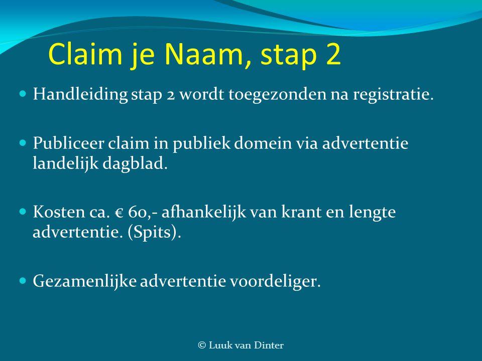 © Luuk van Dinter Claim je Naam, stap 2  Handleiding stap 2 wordt toegezonden na registratie.  Publiceer claim in publiek domein via advertentie lan