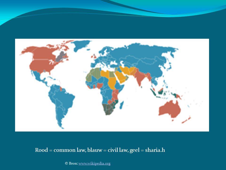 © Bron: www.wikipedia.orgwww.wikipedia.org Rood = common law, blauw = civil law, geel = sharia.h