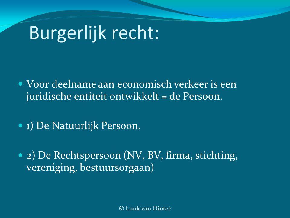 © Luuk van Dinter Burgerlijk recht:  Voor deelname aan economisch verkeer is een juridische entiteit ontwikkelt = de Persoon.  1) De Natuurlijk Pers
