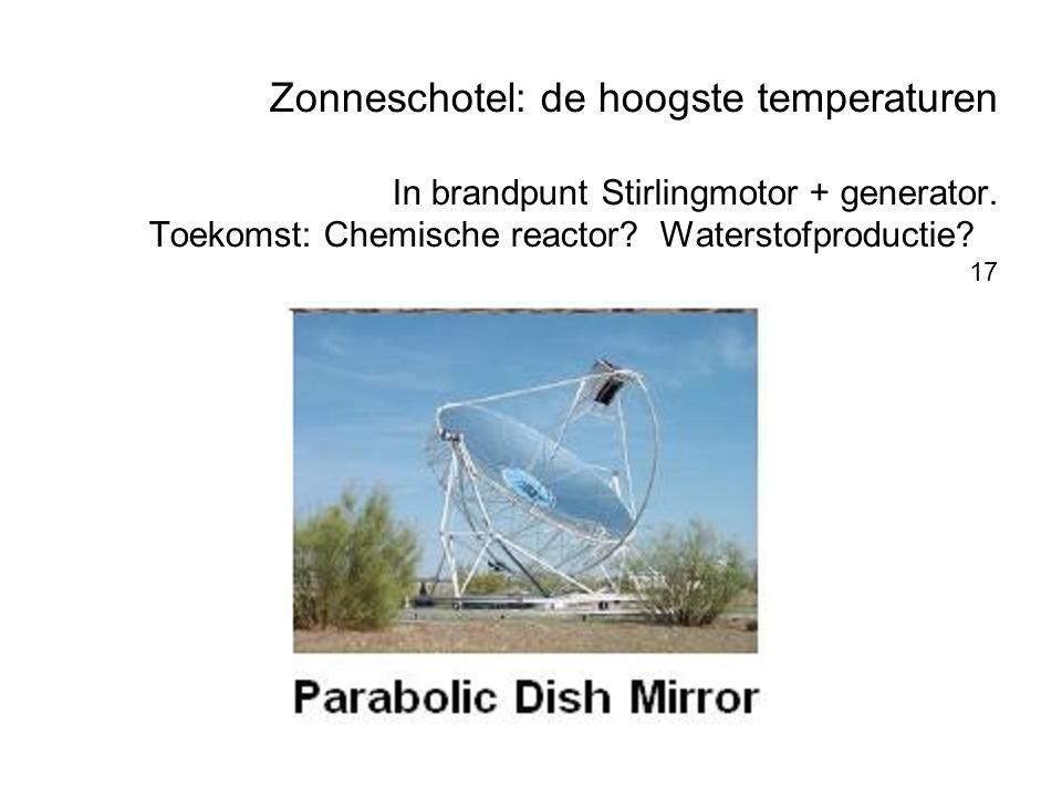 Zonneschotel: de hoogste temperaturen In brandpunt Stirlingmotor + generator. Toekomst: Chemische reactor? Waterstofproductie? 17