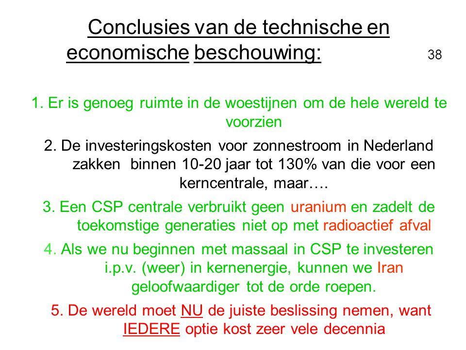 Conclusies van de technische en economische beschouwing: 38 1. Er is genoeg ruimte in de woestijnen om de hele wereld te voorzien 2. De investeringsko
