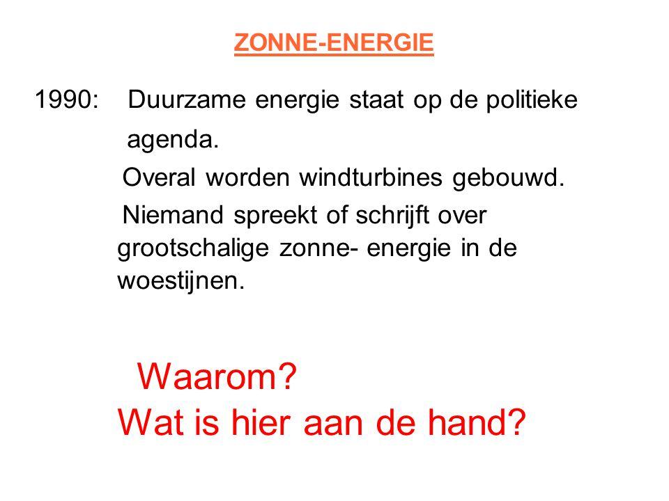 ZONNE-ENERGIE 1990: Duurzame energie staat op de politieke agenda. Overal worden windturbines gebouwd. Niemand spreekt of schrijft over grootschalige