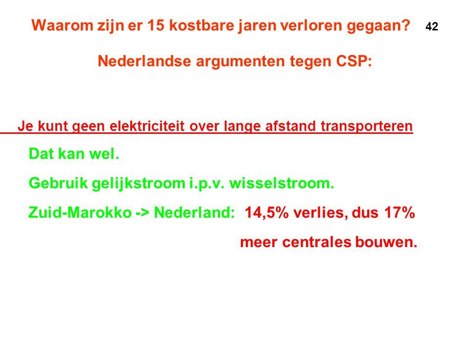Waarom zijn er 15 kostbare jaren verloren gegaan? 42 Nederlandse argumenten tegen CSP: • Je kunt geen elektriciteit over lange afstand transporteren •