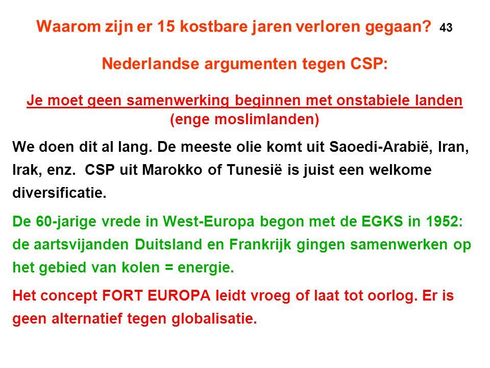 Waarom zijn er 15 kostbare jaren verloren gegaan? 43 Nederlandse argumenten tegen CSP: Je moet geen samenwerking beginnen met onstabiele landen (enge