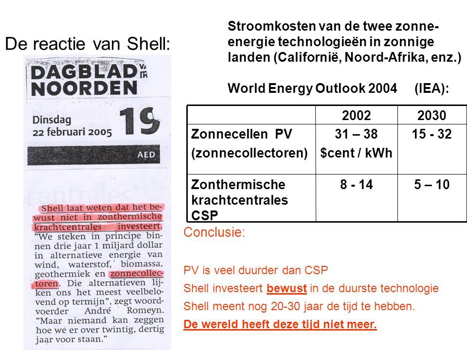De reactie van Shell: Stroomkosten van de twee zonne- energie technologieën in zonnige landen (Californië, Noord-Afrika, enz.) World Energy Outlook 20