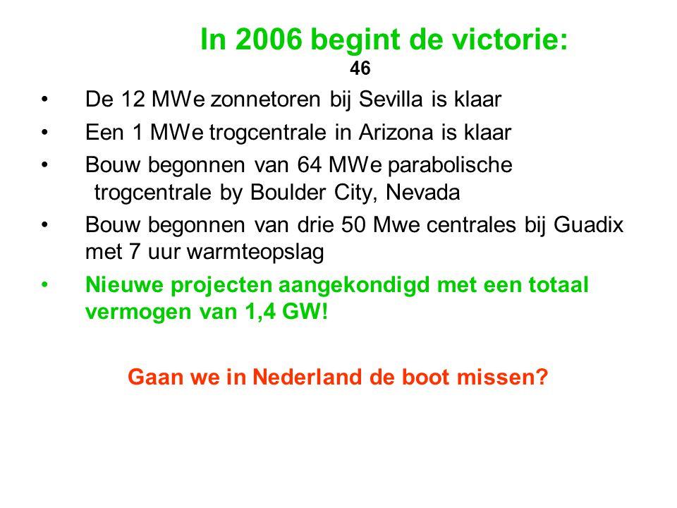 In 2006 begint de victorie: 46 •De 12 MWe zonnetoren bij Sevilla is klaar •Een 1 MWe trogcentrale in Arizona is klaar •Bouw begonnen van 64 MWe parabo
