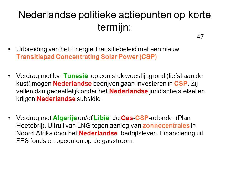 Nederlandse politieke actiepunten op korte termijn: 47 •Uitbreiding van het Energie Transitiebeleid met een nieuw Transitiepad Concentrating Solar Pow