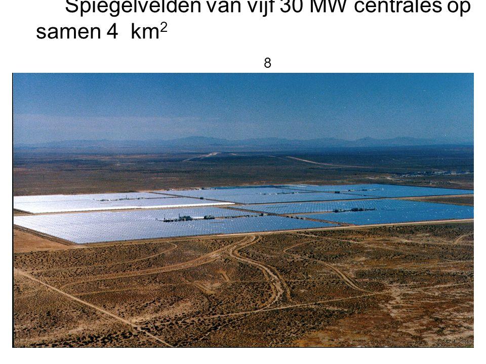 Spiegelvelden van vijf 30 MW centrales op samen 4 km 2 8