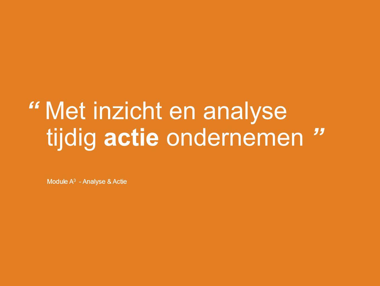 """Module A 3 - Analyse & Actie """" Met inzicht en analyse tijdig actie ondernemen """""""