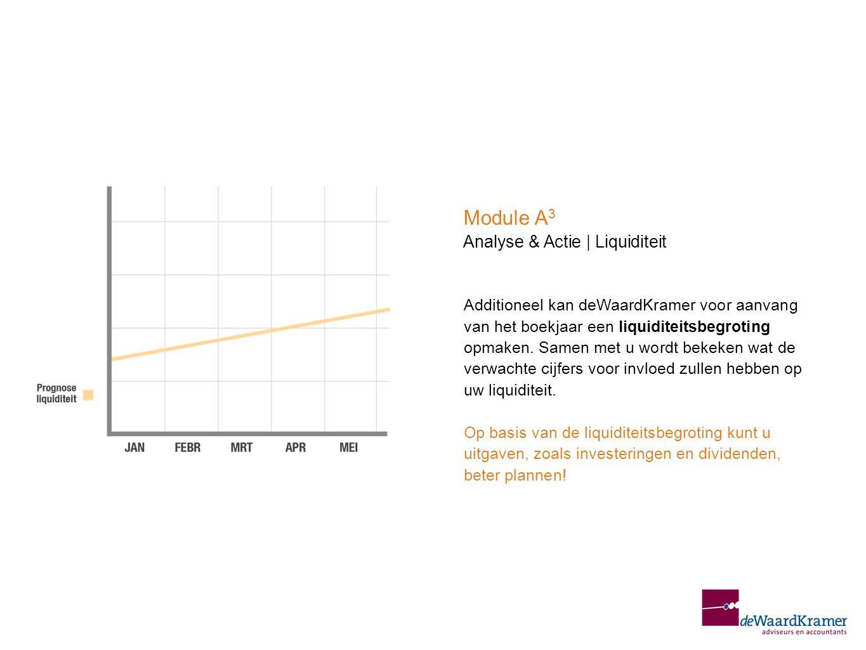 Additioneel kan deWaardKramer voor aanvang van het boekjaar een liquiditeitsbegroting opmaken. Samen met u wordt bekeken wat de verwachte cijfers voor