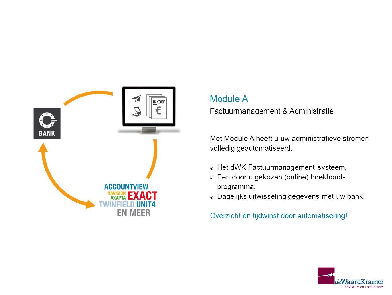 Met Module A heeft u uw administratieve stromen volledig geautomatiseerd.  Het dWK Factuurmanagement systeem,  Een door u gekozen (online) boekhoud-
