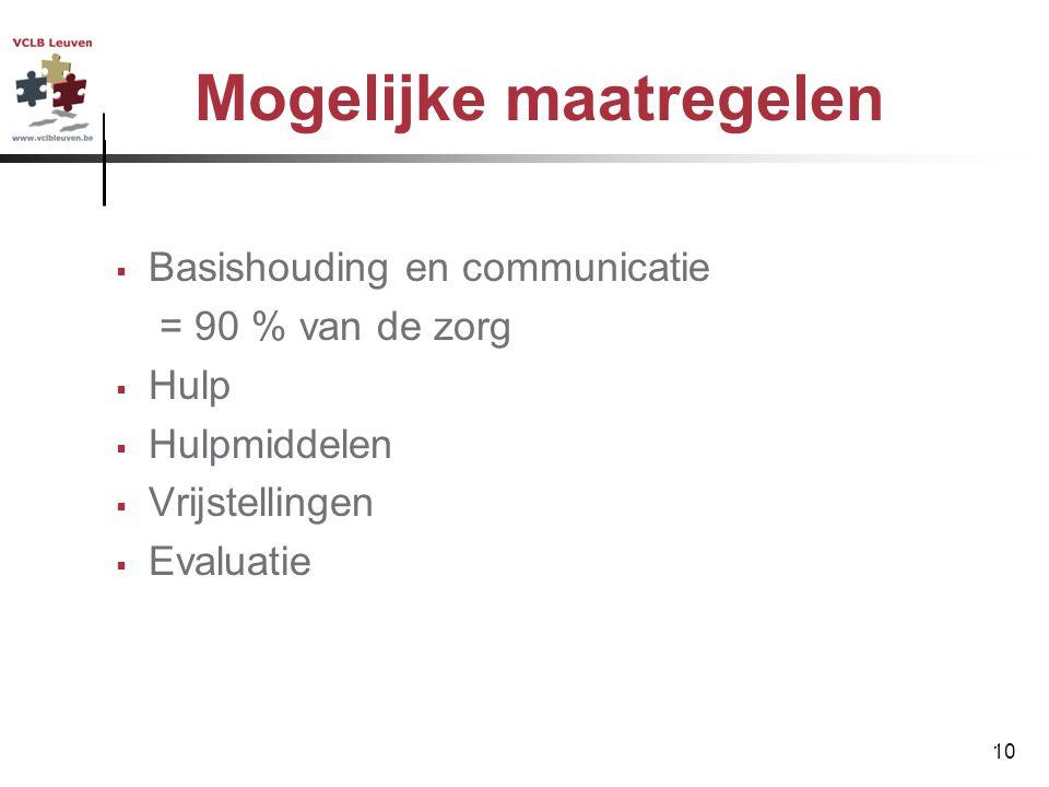 10 Mogelijke maatregelen  Basishouding en communicatie = 90 % van de zorg  Hulp  Hulpmiddelen  Vrijstellingen  Evaluatie