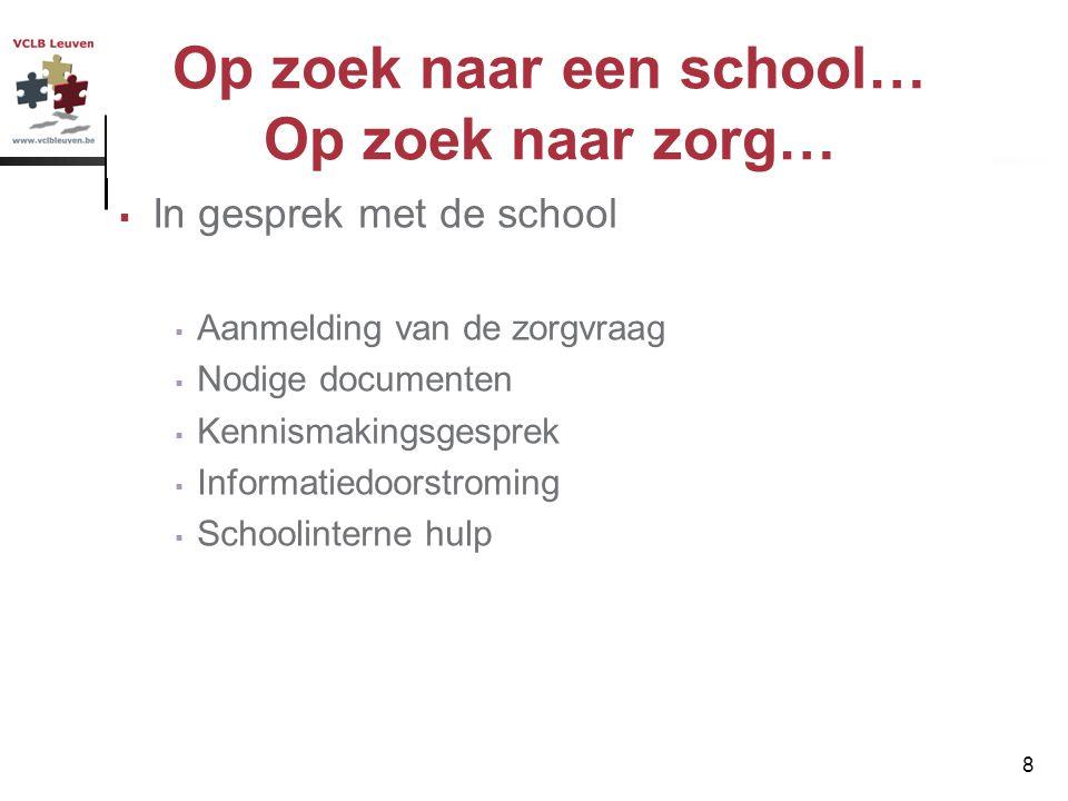 8 Op zoek naar een school… Op zoek naar zorg…  In gesprek met de school  Aanmelding van de zorgvraag  Nodige documenten  Kennismakingsgesprek  In