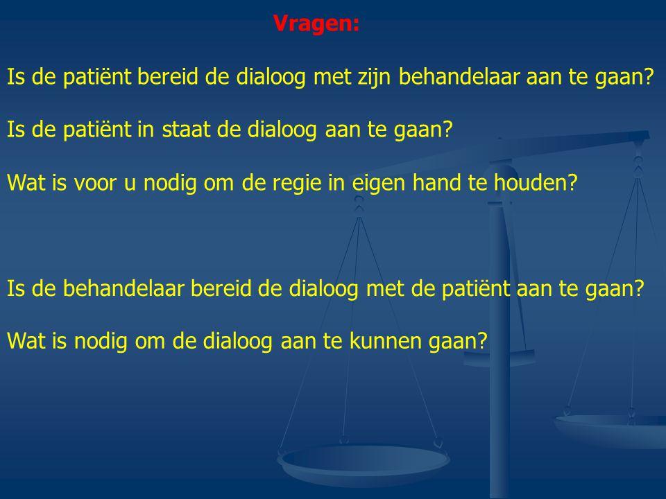 Vragen: Is de patiënt bereid de dialoog met zijn behandelaar aan te gaan.