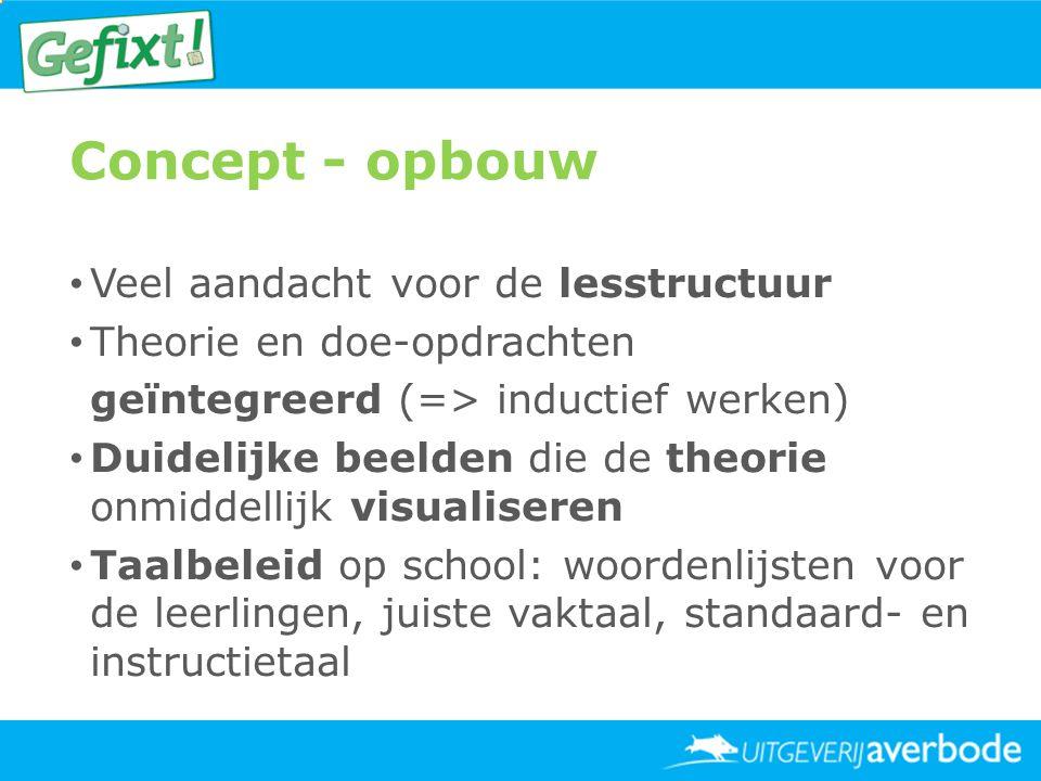 Concept - opbouw • Veel aandacht voor de lesstructuur • Theorie en doe-opdrachten geïntegreerd (=> inductief werken) • Duidelijke beelden die de theor