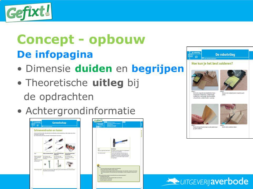 Concept - opbouw De infopagina • Dimensie duiden en begrijpen • Theoretische uitleg bij de opdrachten • Achtergrondinformatie