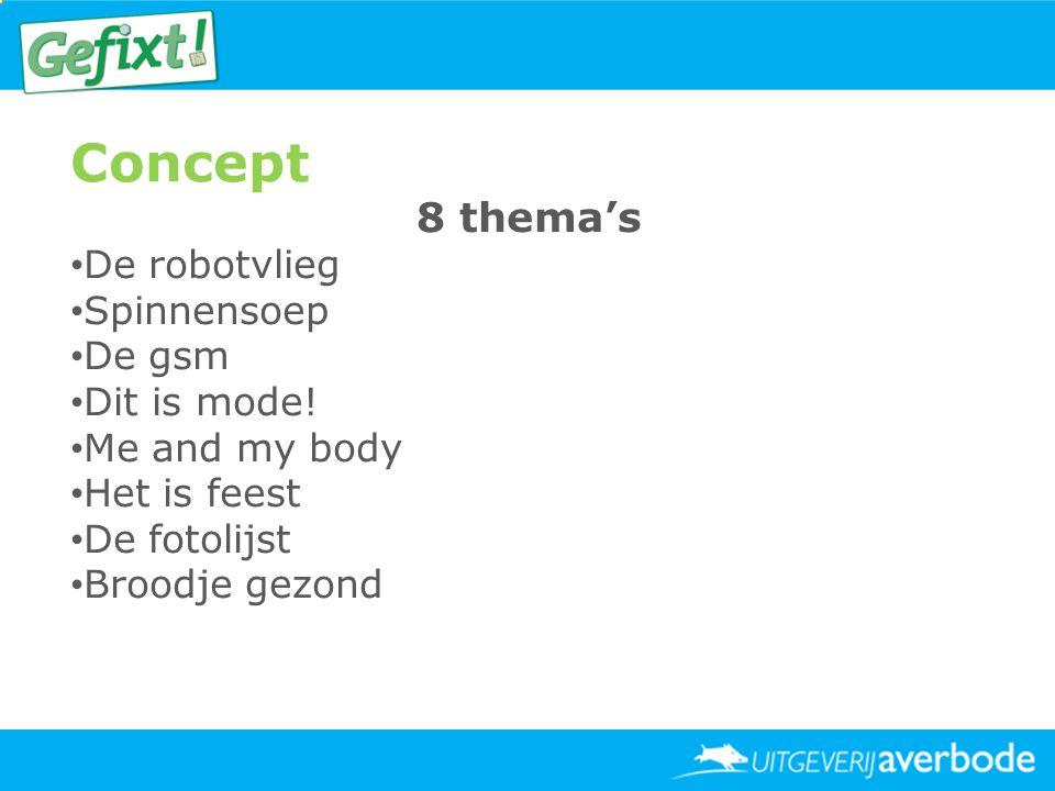 Concept 8 thema's • De robotvlieg • Spinnensoep • De gsm • Dit is mode! • Me and my body • Het is feest • De fotolijst • Broodje gezond