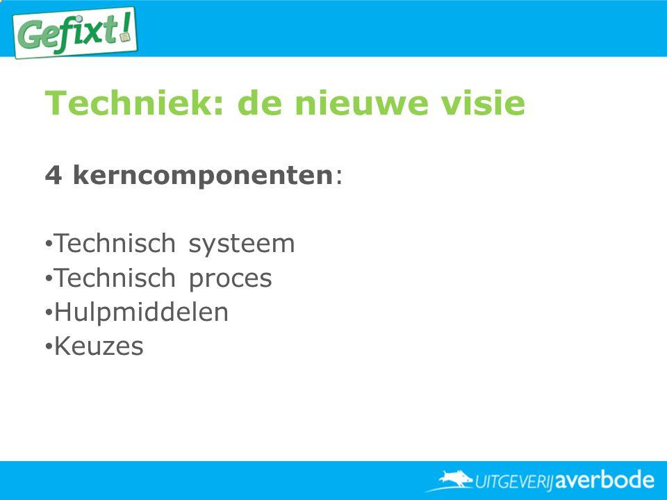 Techniek: de nieuwe visie 4 kerncomponenten: • Technisch systeem • Technisch proces • Hulpmiddelen • Keuzes