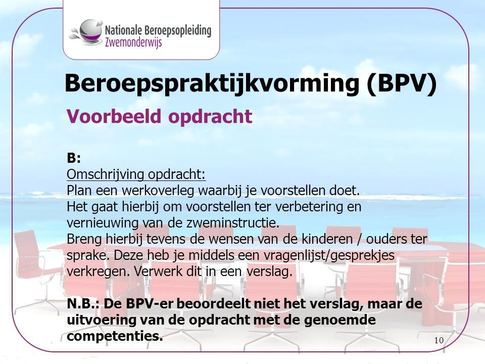 10 Beroepspraktijkvorming (BPV) Voorbeeld opdracht B: Omschrijving opdracht: Plan een werkoverleg waarbij je voorstellen doet. Het gaat hierbij om voo