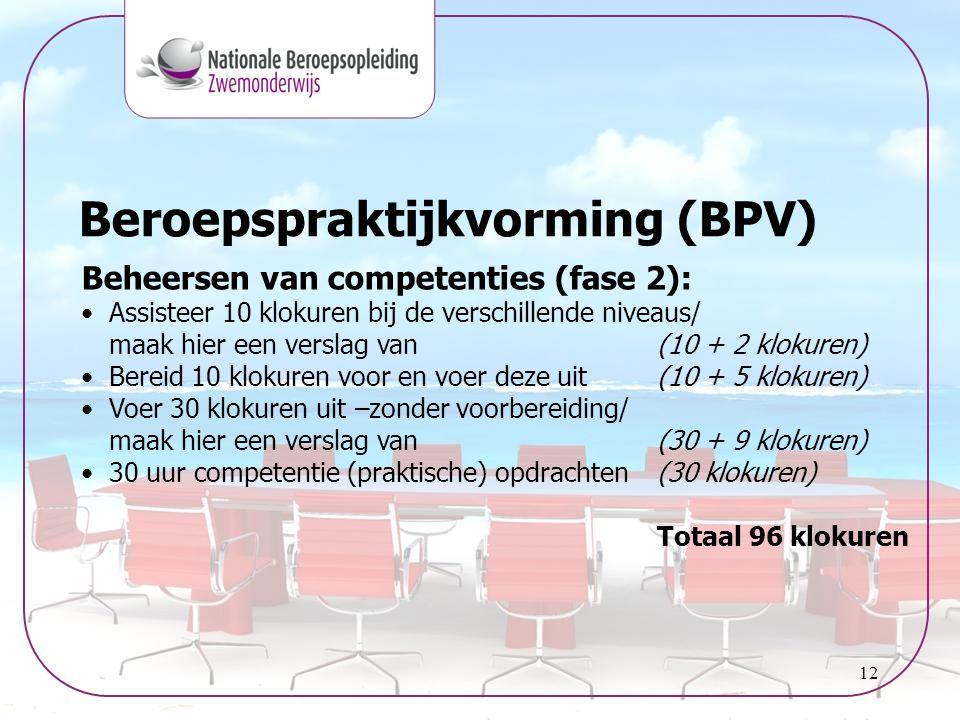 12 Beroepspraktijkvorming (BPV) Beheersen van competenties (fase 2): •Assisteer 10 klokuren bij de verschillende niveaus/ maak hier een verslag van (1
