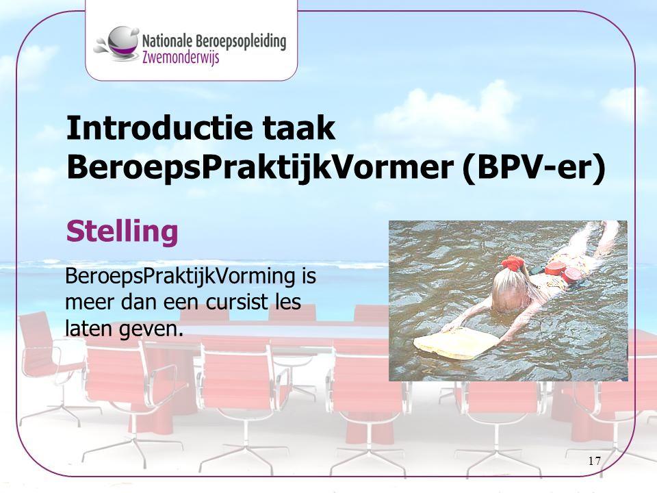 17 Introductie taak BeroepsPraktijkVormer (BPV-er) BeroepsPraktijkVorming is meer dan een cursist les laten geven. Stelling