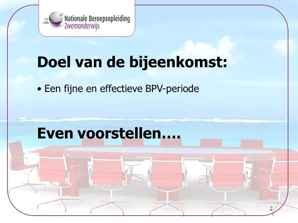 2 Doel van de bijeenkomst: • Een fijne en effectieve BPV-periode Even voorstellen….