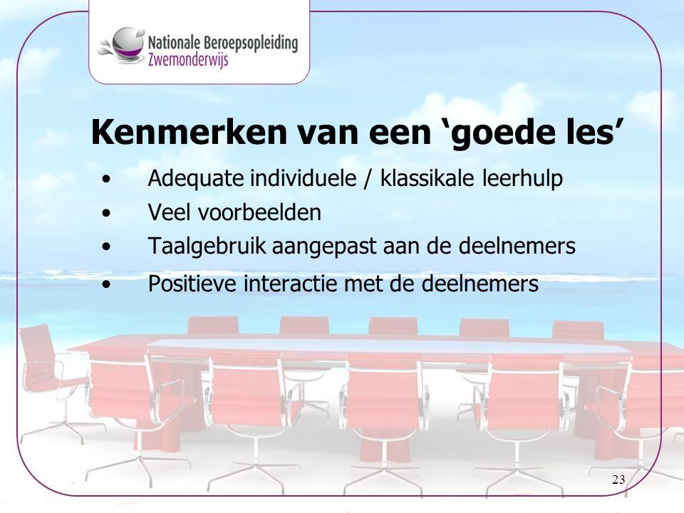 23 •Adequate individuele / klassikale leerhulp •Veel voorbeelden •Taalgebruik aangepast aan de deelnemers •Positieve interactie met de deelnemers Kenm