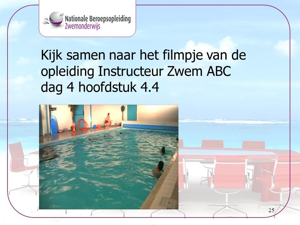 25 Kijk samen naar het filmpje van de opleiding Instructeur Zwem ABC dag 4 hoofdstuk 4.4